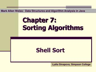 Chapter 7:  Sorting Algorithms