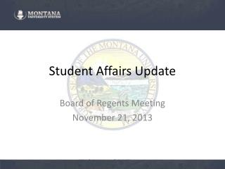 Student Affairs Update