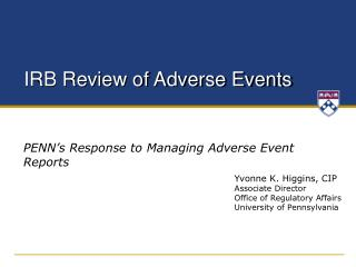 IRB Review of Adverse Events