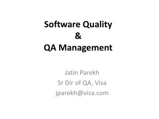 Software Quality & QA Management