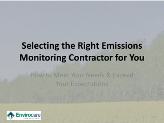 Selecting the Right Emissions Monitoring Contractor for You