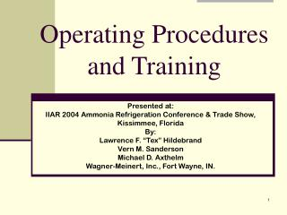Operating Procedures and Training