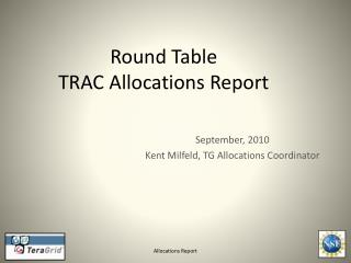 Round Table TRAC Allocations Report
