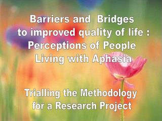 Barriers and  Bridges  to improved quality of life : Perceptions of People  Living with Aphasia