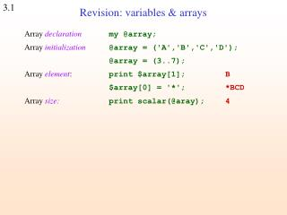 Revision: variables & arrays
