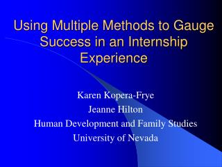 Using Multiple Methods to Gauge Success in an Internship Experience