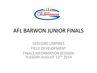 AFL BARWON JUNIOR FINALS