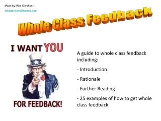 A guide to whole class feedback including: Introduction Rationale Further Reading
