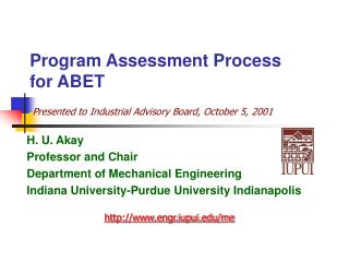 Program Assessment Process for ABET