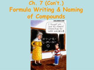 Ch. 7 (Con't.) Formula Writing & Naming of Compounds
