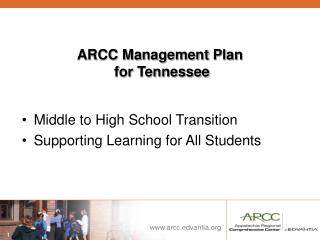 ARCC Management Plan for Tennessee