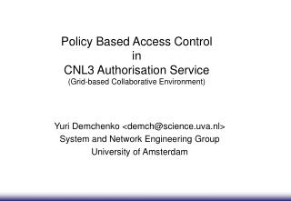 Policy Based Access Control  in  CNL3 Authorisation Service (Grid-based Collaborative Environment)