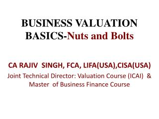 BUSINESS VALUATION BASICS- Nuts and Bolts