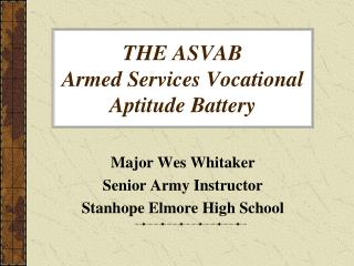 THE ASVAB Armed Services Vocational Aptitude Battery