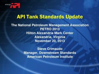API Tank Standards Update