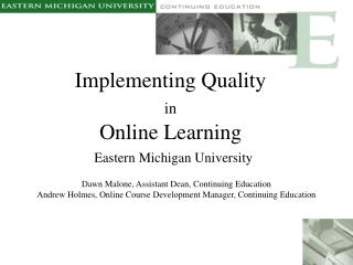 Implementing Quality  in Online Learning