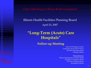 """Long-Term (Acute) Care Hospitals""  Follow-up Meeting"