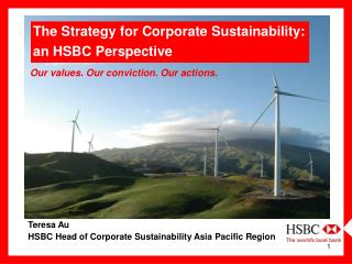 Teresa Au HSBC Head of Corporate Sustainability Asia Pacific Region