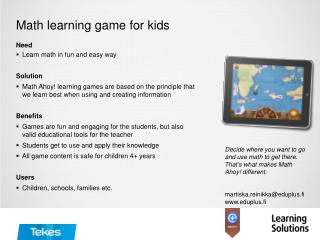 Math learning game for kids
