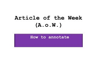 Article of the Week ( A.o.W .)