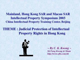 THEME :	Judicial Protection of Intellectual 		Property Rights in Hong Kong
