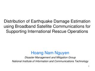 Hoang Nam Nguyen Disaster Management and Mitigation Group