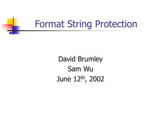 Format String Protection