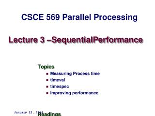 Lecture 3 –SequentialPerformance