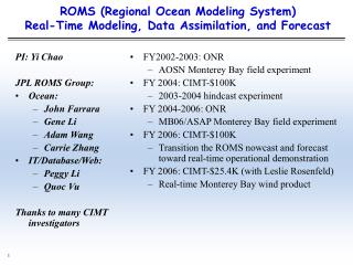 ROMS (Regional Ocean Modeling System)  Real-Time Modeling, Data Assimilation, and Forecast