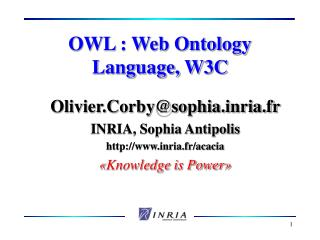OWL : Web Ontology Language, W3C