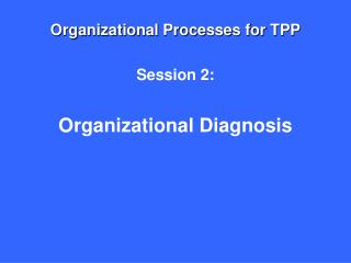 Organizational Processes for TPP Session 2: Organizational Diagnosis