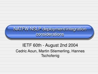 NATFW NSLP deployment/integration considerations