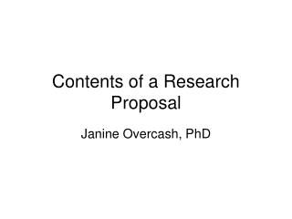 Contents of a Research Proposal