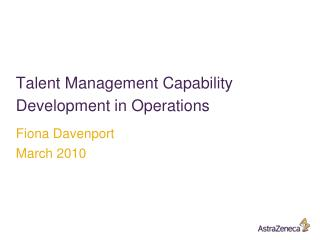 Talent Management Capability Development in Operations