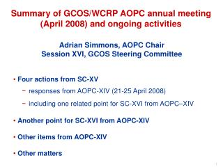 Adrian Simmons, AOPC Chair Session XVI, GCOS Steering Committee