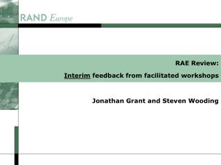 RAE Review: Interim feedback from facilitated workshops