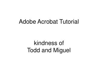 Adobe Acrobat Tutorial kindness of Todd and Miguel