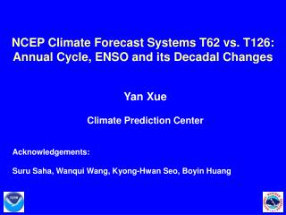 NCEP Climate Forecast Systems T62 vs. T126:  Annual Cycle, ENSO and its Decadal Changes