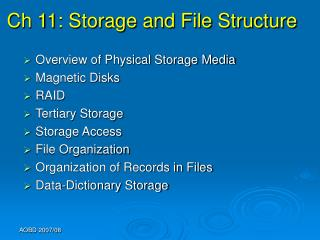 Ch 11: Storage and File Structure