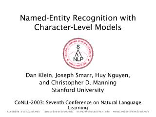 Named-Entity Recognition with Character-Level Models