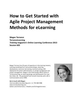 How to Get Started with Agile Project Management Methods for eLearning Megan Torrance