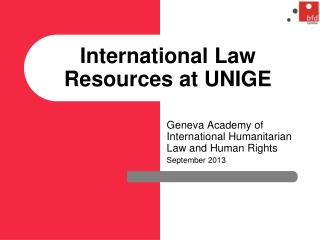 International Law Resources at UNIGE