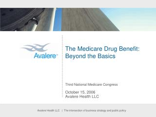 The Medicare Drug Benefit:   Beyond the Basics