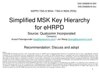 Simplified MSK Key Hierarchy for eHRPD