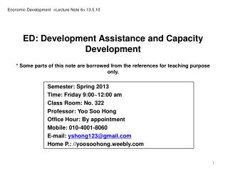 Economic Development  <Lecture Note 6> 13.5.10