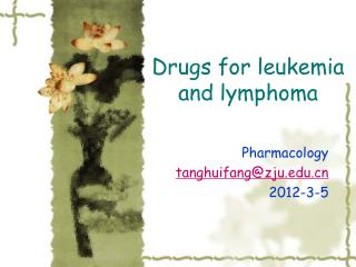 Drugs for leukemia and lymphoma