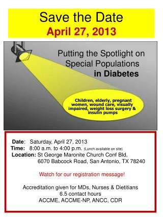 Save the Date April 27, 2013