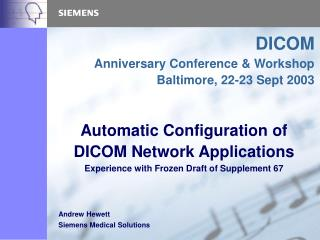 Automatic Configuration of DICOM Network Applications
