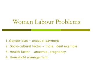 Women Labour Problems