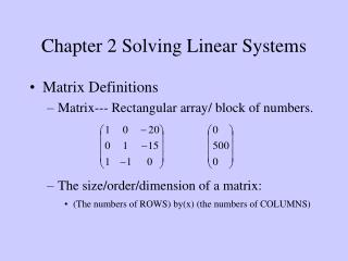 Chapter 2 Solving Linear Systems